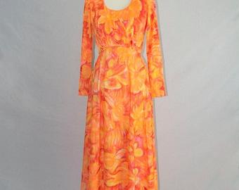 Vintage 70s Hawaiian Maxi Dress Orange Sunset Hula Honey!