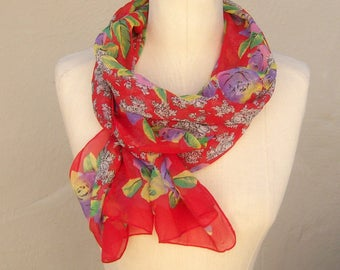 Vintage red floral scarf / red rose chiffon scarf / long sheer scarf / 68 x 14