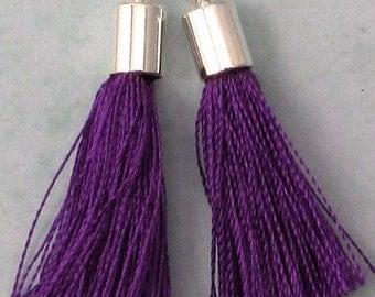 Silky Tassel Pendant, Purple, Silver Cap, 30 MM, 2 Pieces, AS392