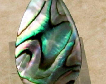 Genuine Abalone Shell Pear Pendant, 33 mm, A8