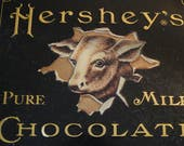 Vintage Hershey's Cookie Tin, Cow, Chocolate Candy Tin, Anniversary Tin, Pure Milk Chocolate, Home Decor, Lithograph Tin