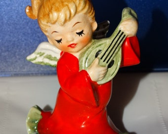 Vintage Lefton, 2543, Christmas Angel, Mandolin String,  Christmas, Ceramic Figurine, 4 inches, Made in Japan, Lefton Circa 1950's