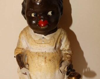Rare 1940's Bisque, Black Americana Mamie figure holding Bell, Primitive Folk Art, Dinner Bell,  Spoon