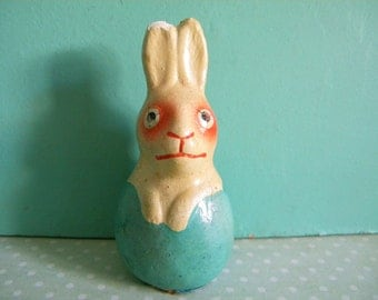 Vintage Paper Mache Easter Bunny Hatching from Egg Germany
