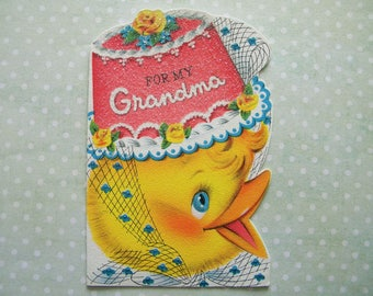 Vintage Birthday Card with Duckling in Birthday Cake Hat for Grandma Signed Card