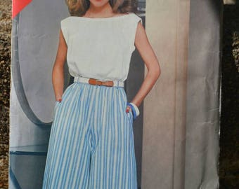 Vintage 80s Sewing Pattern Butterick See & Sew 5178 Gathered Bateau Neck Top and Culottes Uncut