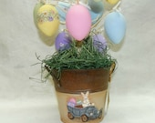 Easter Tree in Hand Painted Bucket  Primitive Folk Art Easter Bunny Car Clay Sculpted Gourd Bunnies Painted Eggs