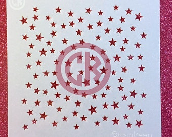 "Cookie Stencil - Tiny Stars Background Print - 6""x6"" Laser Cut"