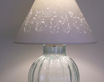 """Fillable Recycled """"Pumpkin"""" Glass Base and Seashell Lamp Shade-Fillable Lamp-Fill with Shells-Paper Lampshade-Pierced Lampshade-Seashells"""