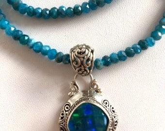 Apatite & Mystic Quartz Pendant Necklace-Bali Silver Pendant