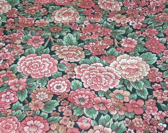 vintage 80s cotton fabric, featuring shabby chic floral print in reds and greens, 1 yard, 2 available, priced per yard