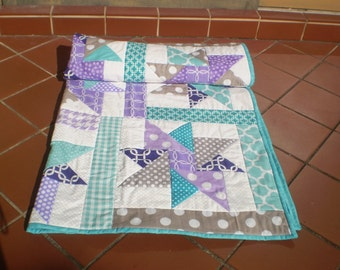 Baby quilt, handmade Baby quilt, baby girl quilt,  baby girl bedding, modern baby quilt, crib quilt, purple, teal grey-Purple Star Sensation