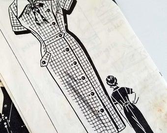 Vintage 1950s Wiggle Dress Pattern Patt O Rama 8239 Bust 32 33 Rockabilly Asymmetric Closing Wing Collar