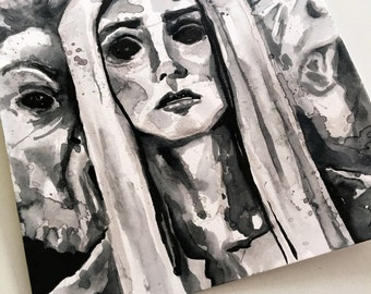 Scary Print of Ghost Woman - Ink Horror Art Reproduction- The No Sleep Podcast Cover Art by Jen Tracy - Scary Story Art Print - Horror Print