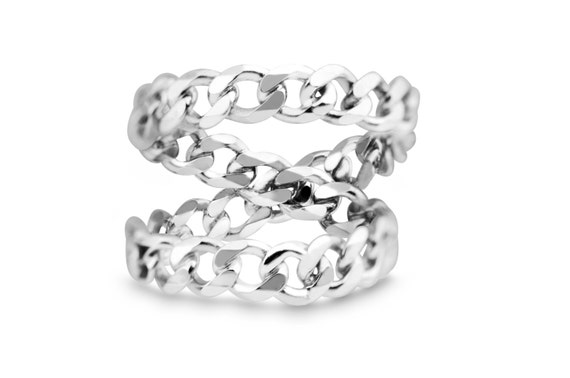 Silver Infinity ring | Infinity Knot Chain Ring | X ring | Cross Ring | Criss Cross Ring