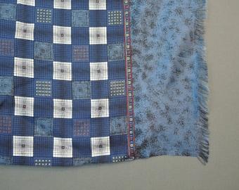 Vintage Large Silk Scarf, Blue Geometric Bayron Cicogna Italy Milano with metal tag Seta Pura