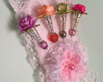 Stick Pin Gift Tag, Package Topper,  Scrapbook, Mixed Media, Shabby Chic, Embellishment, Stick Pins, BFF Gift, Fabric Art Tag, Lace Rosette