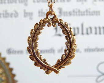 Laurel - Wreath Necklace in Antique Gold - Graduation gift, graduation gift for her - laureate - gold wreath necklace