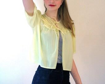 Daffodil, 60s Lemon Yellow Bed Jacket, Lacy Yellow Nylon Bed Jacket, Sheer Yellow Chiffon Bolero, Yellow Lingerie Top, Yellow Nylon Blouse M