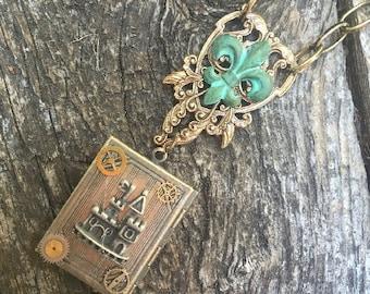 Pendent Locket Necklace Steampunk Fantasy Fairy Castle Fleur di Lis