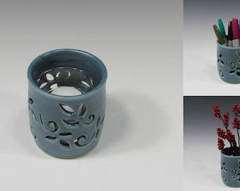 Votive Candle Holder - Pencil Holder - Ceramic Pencil Holder - Pottery Sponge Holder - Candle Holder - Blue Flower Vase - Kitchen accessory