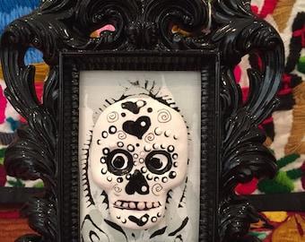 Hand Painted 3D Dia de los Muertos Sugar Skull with unique black frame