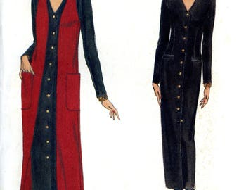 Vogue 8757 Easy Button Front Column Dress and Duster Vest Size 14 16 18 Uncut Vintage Sewing Pattern 1993