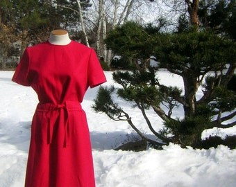 Pendleton RED Dress 60s 70s Wool Classic - Clever Waist Design - Vintage Size 14