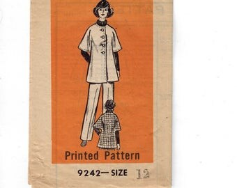 1970s Vintage Sewing Pattern Mail Order 9242 Misses Cape Coat and Pants Size 12 Bust 34 70s