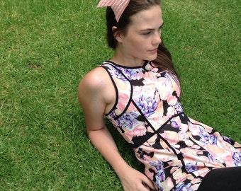 Handmade by Me Pink Straw Bow headband intricate on Velvet Headband