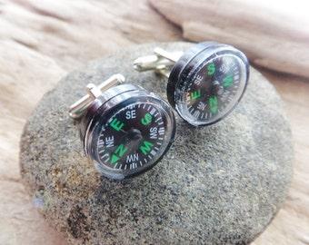 Little Compass Cufflinks,Plastic Compass Traveller Hiker Geek Gift, Compass Outdoor Suit Gift Mens Cufflinks