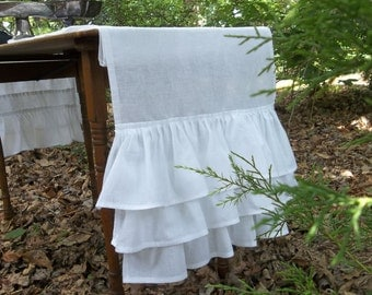 Ruffled Runner Multi Ruffle Table Runner White Ruffled Runner French Country Prairie Cottage Chic Wedding Decorations Table Decor 17x106