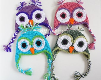 Owl Hat 0-3 Month Blue Purple Pink Gifts for Babies Ready to Ship Gifts for Baby Earflap Winter Beanie