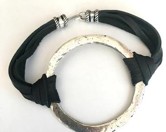 Silver Circle Bracelet, Boho Leather Bracelet, Large Harmony bracelet, gift for her, festival, Christmas gift, gift for woman