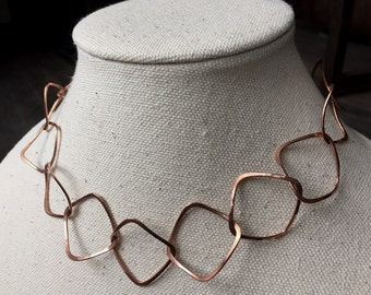 Handformed Hammered Soft Square Link Copper Chain Necklace (Shiny or Patina Finish)