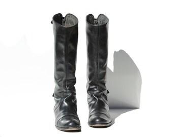 Italian Black LeatherTall Pull On Fashion Riding Boots / size 8.5
