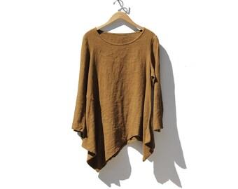 Vintage Brown Linen Oversized Top