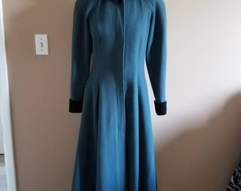 LAURA ASHLEY Teal Wool Victorian Style Full Length Coat