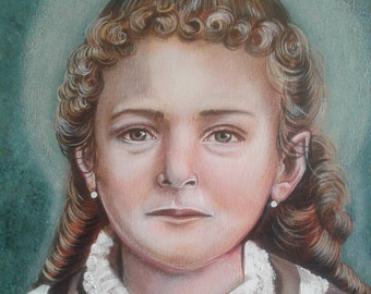 """Saint Theresa The Little Flower at 8 years of age, 8""""x10"""" and 11"""" x 14"""" Print on 110lb Card Stock Taken from my Original Acrylic Painting"""