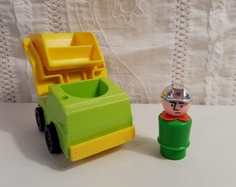 Vintage Fisher Price Little People Lot, Construction Worker with Silver Helmet and Dump Truck