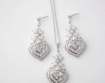 Bridal Jewelry Set Rhodium Silver Crystal Necklace Crystal Earrings Necklace Wedding Earrings Wedding necklace EVIE Set Wedding Jewelry