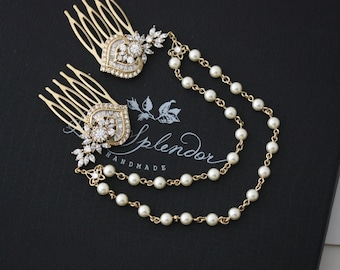 Gold Wedding Headpiece Gold Crystal Hair Chain Bridal Hair Comb Swarovski Crystal Pearl Boho Bridal Hair Accessory EVIE