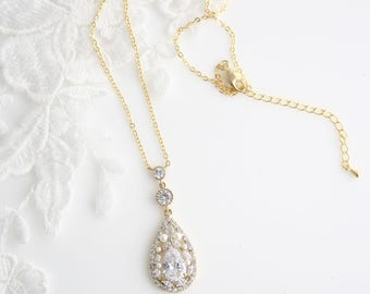 Simple Wedding Necklace Crystal Pearl Bridal Jewelry Fine Chain Delicate Bridal Necklace Crystal Pendant TARA GOLD Necklace