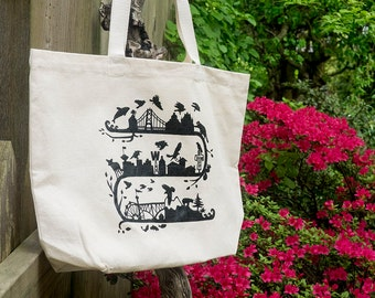 Wild City Design Screen Printed 100% Cotton Tote Bag, Vancouver Urban Wildlife Graphic by June Hunter
