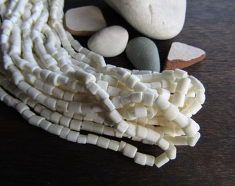 White bone beads, small white Bone tube barrel, Irregular rough natural look, exotic boho beads from Indonesia 4 to 6mm (50 beads) 6db8-1