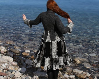 Flair Black & White speckled Argyle Medium  Hoodless frankensweater Military Cuff upcycled gypsy coat sweater