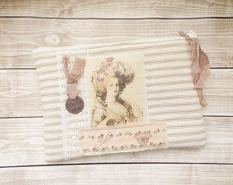 Shabby Marie Antoinette Rustic Chic Tattered Pink and Toffee Brown Zipper Pouch