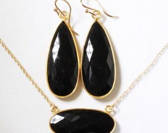 Black Onyx 2-pc SET Necklace Earrings 14k Gold Adjustable Genuine Onyx Earrings Onyx Necklace Unique Stone Jewelry BZ-SET-152.2-Black Onyx/g