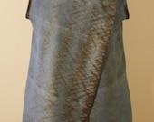 SALE! 55% OFF Jackie O. Inspired Dupioni Silk Tunic Shibori Dyed in Indigo and Walnut
