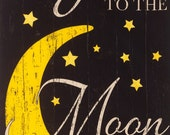 """I love you to the Moon and Back Black Timeless Treasures Fabric 24"""" Panel"""